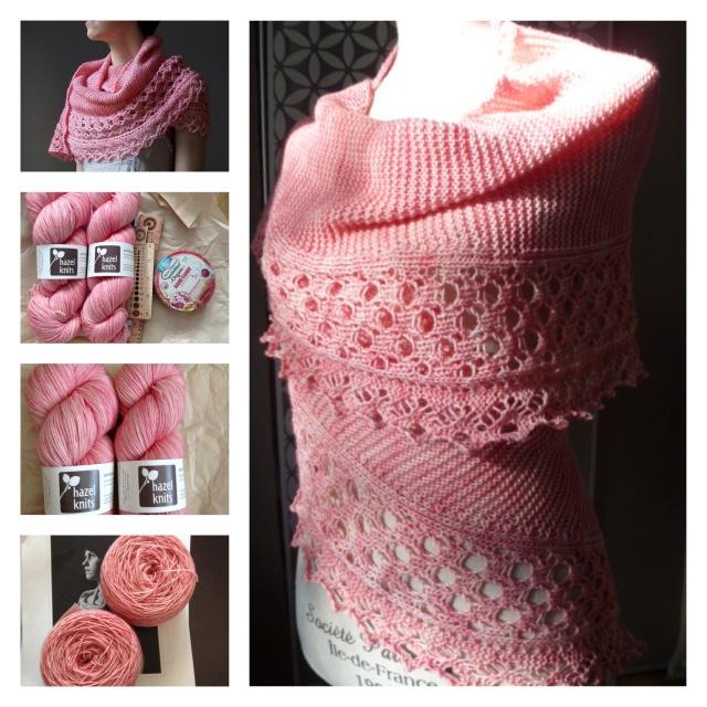left, to to bottom/à gauche, de haut en bas: Ume - Andrea Rangel March Knitcrate contents/contenu de Knitcrate de mars Hazel Knits Artisan Sock ready to knit / prête à tricoter